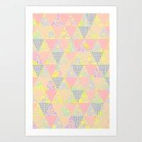 PASTEL NEON GEO FLORALS Art Print