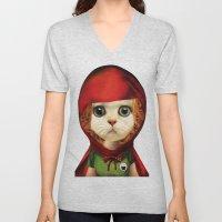 Kitten red riding  Unisex V-Neck