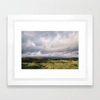 Gorse bushes on a hilltop at sunset. Derbyshire, UK. Framed Art Print