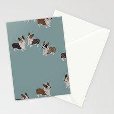 teal corgis Stationery Cards