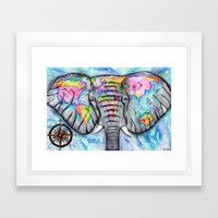 wanderlust elephant map watercolor travel art Framed Art Print