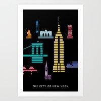 New York Skyline Empire State Poster Black Art Print