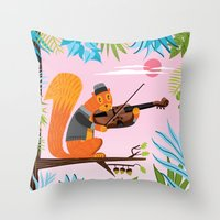 Red Squirrel Serenade Throw Pillow