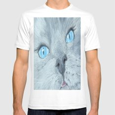 Blossom the Ragdoll Cat SMALL White Mens Fitted Tee