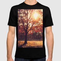 Autumn Sun  Black Mens Fitted Tee SMALL