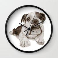 A Bulldog Puppy :: Brindle  Wall Clock