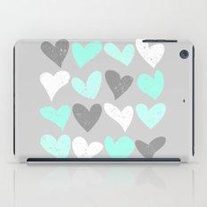Mint white grey grunge hearts iPad Case