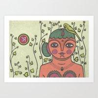 Indian Woman Landscape Art Print