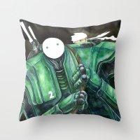 Moonbot #2: Green Throw Pillow