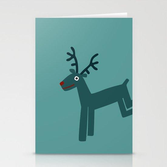 Reindeer-Teal Stationery Card