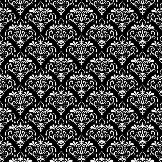 damask pattern back and white Art Print