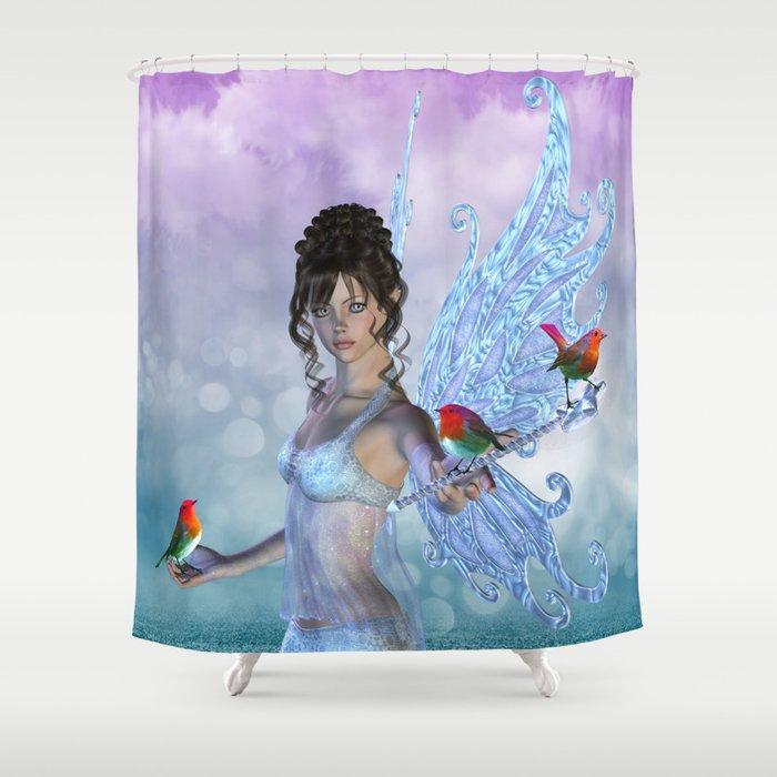 Bird fairy fantasy shower curtain by apgme society6 for Fantasy shower curtains
