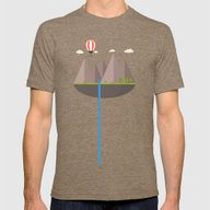 Flat Island  Mens Fitted Tee Tri-Coffee SMALL