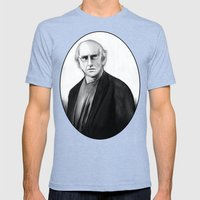 DARK COMEDIANS: Larry David Mens Fitted Tee Tri-Blue SMALL