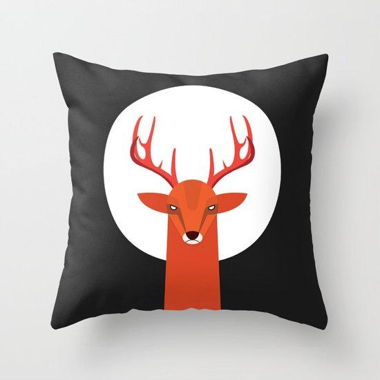 Deer and Moon Throw Pillow