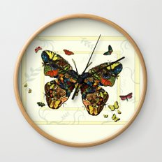 Colorful Butterfly Collage Wall Clock