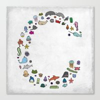 letter c - sea creatures Canvas Print