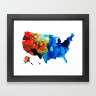 Framed Art Print featuring United States Of America… by Sharon Cummings