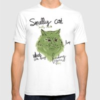 Smelly Cat Mens Fitted Tee White SMALL