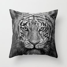 Tiger Black & White Throw Pillow