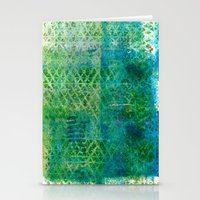 Green Triangles On Blue Stationery Cards