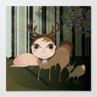 Deery Fairy In The Fores… Canvas Print