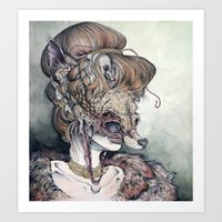 wolf Art Prints featuring Vulpes Masquerade, now as a print! by Caitlin Hackett