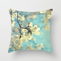 white magnolia Throw Pillow