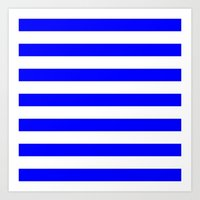 stripes Art Prints featuring Horizontal Stripes (Blue/White) by 10813 Apparel