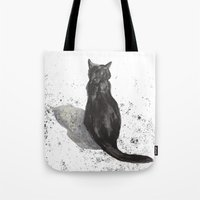 black cat shadow Tote Bag