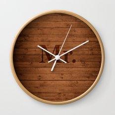 Mr. on Wood Wall Clock