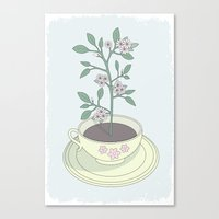 Yellow Planted Teacup Canvas Print