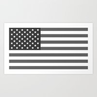 American Flag - Gray Sca… Art Print
