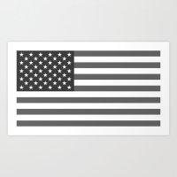 American flag - Gray scale version Art Print