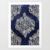 Cream Floral Moroccan Pa… Art Print