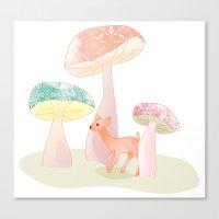 Mushrooms Trees Canvas Print