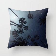 Palm Trees, Night Sky, Stars, Moon Throw Pillow