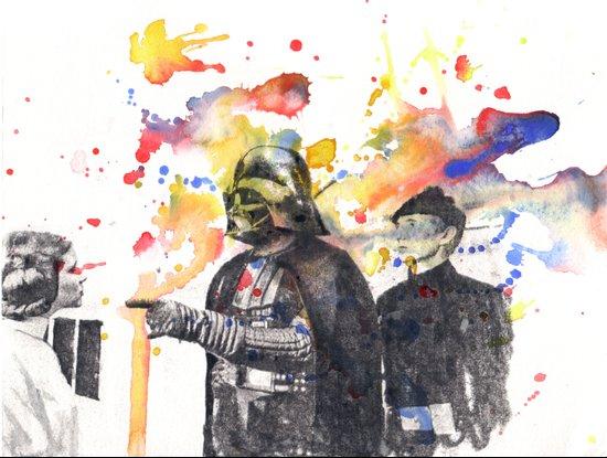 Darth Vader Pointing Leia Star Wars Movie Scene Art Print
