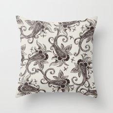 Paisley: Black Brown Throw Pillow