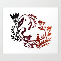 Red And Wolf Art Print