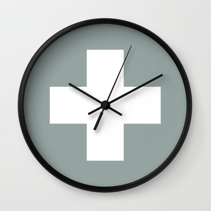 Swiss Cross Wall Clock By Color And Patterns Society6