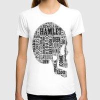 Shakespeare's Hamlet Skull Womens Fitted Tee White SMALL
