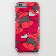 Purrrfect Pattern (Red) iPhone 6 Slim Case