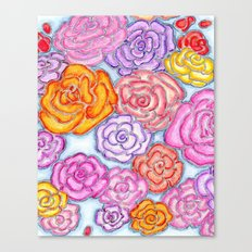 Multi-Colored Roses on Blue Canvas Print