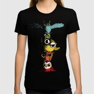 Totem Of Owls Womens Fitted Tee Black MEDIUM
