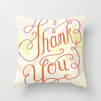 Thank you - hand lettered on chevron Throw Pillow