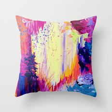 IN TIMES OF CHAOS - Intense Nature Abstract Acrylic Painting Wild Rainbow Volcano Waves Fine Art  Throw Pillow