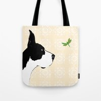 Great Dane Dog with Dragon Fly Tote Bag
