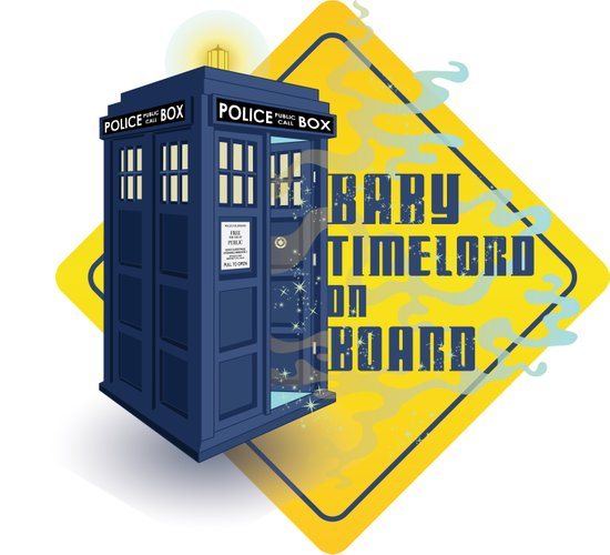 Doctor Who Tardis - Baby Timelord on Board Art Print