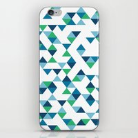Triangles Blue And Green iPhone & iPod Skin
